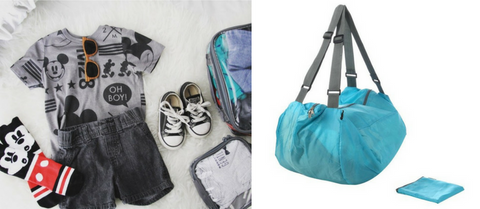 Kids clothes organized in packing cube and foldable duffle bag