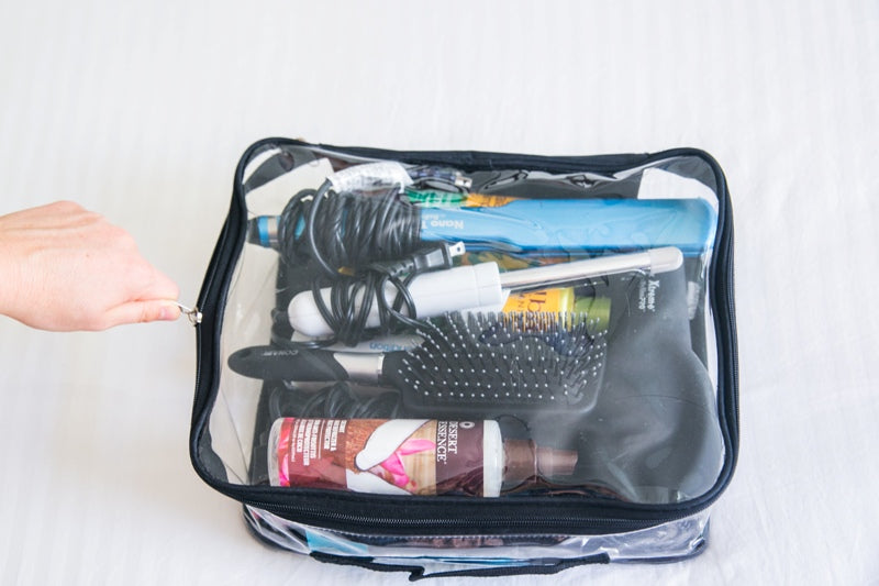 Medium cube with travel hair tools and products