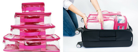 Mom using pink EzPacking cubes for Disneyland vacation luggage