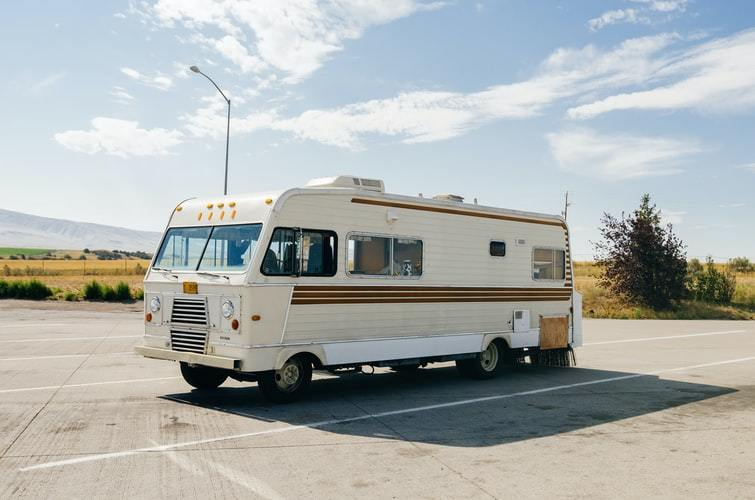Vintage RV on a road trip