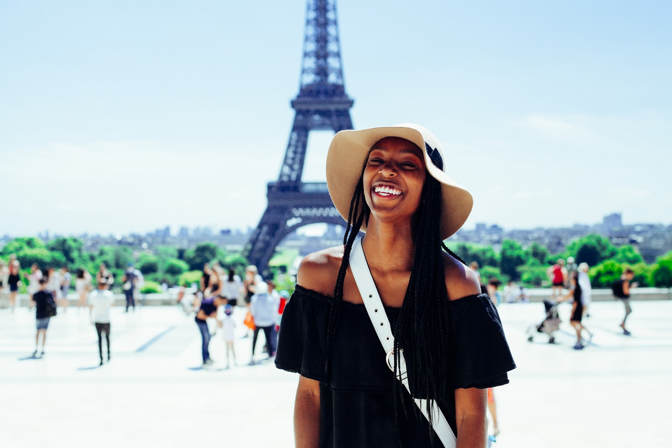 Woman smiling while on Paris