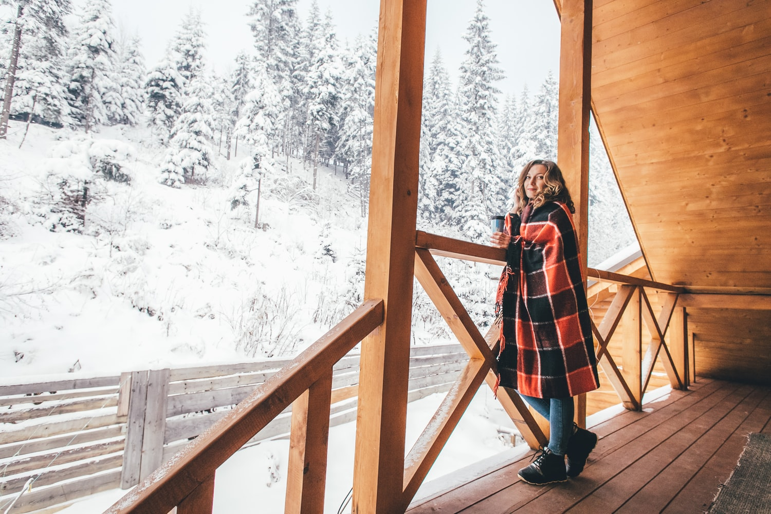 Mom wearing regular winter clothes in ski resort