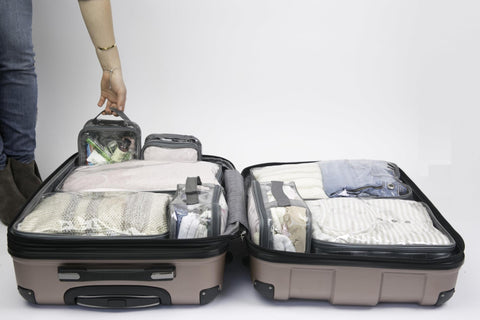Summer luggage organization using EzPacking cubes