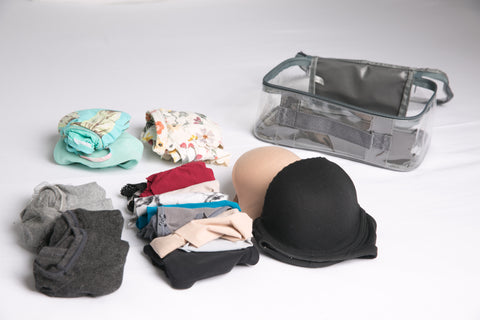 Clear packing cube for organizing underwear and swimwear