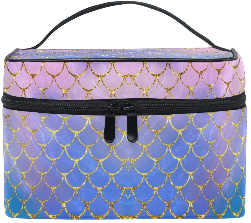 ZOEO makeup train case with purple mermaid scales