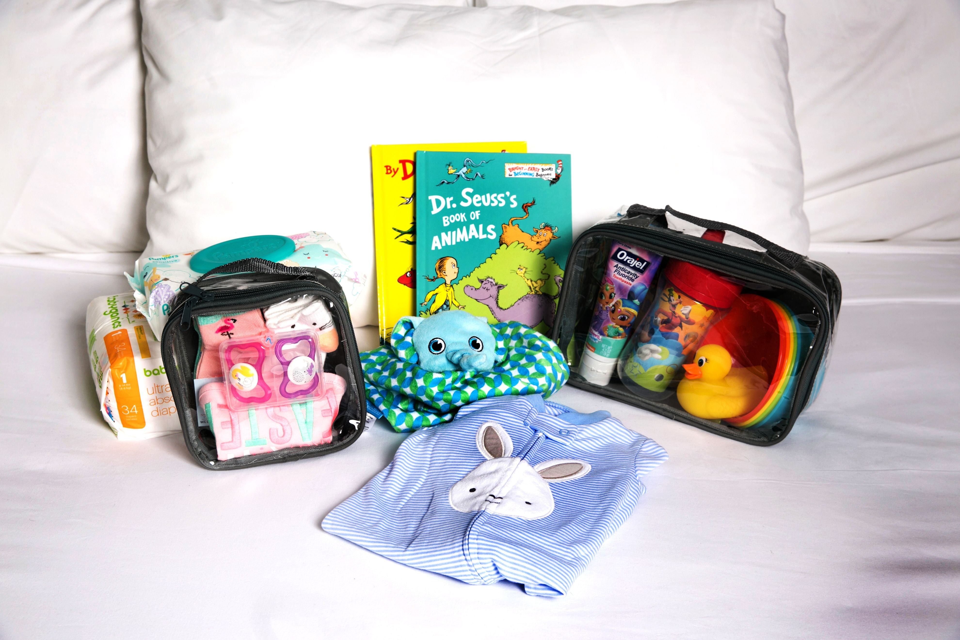 baby essentials and packing cubes