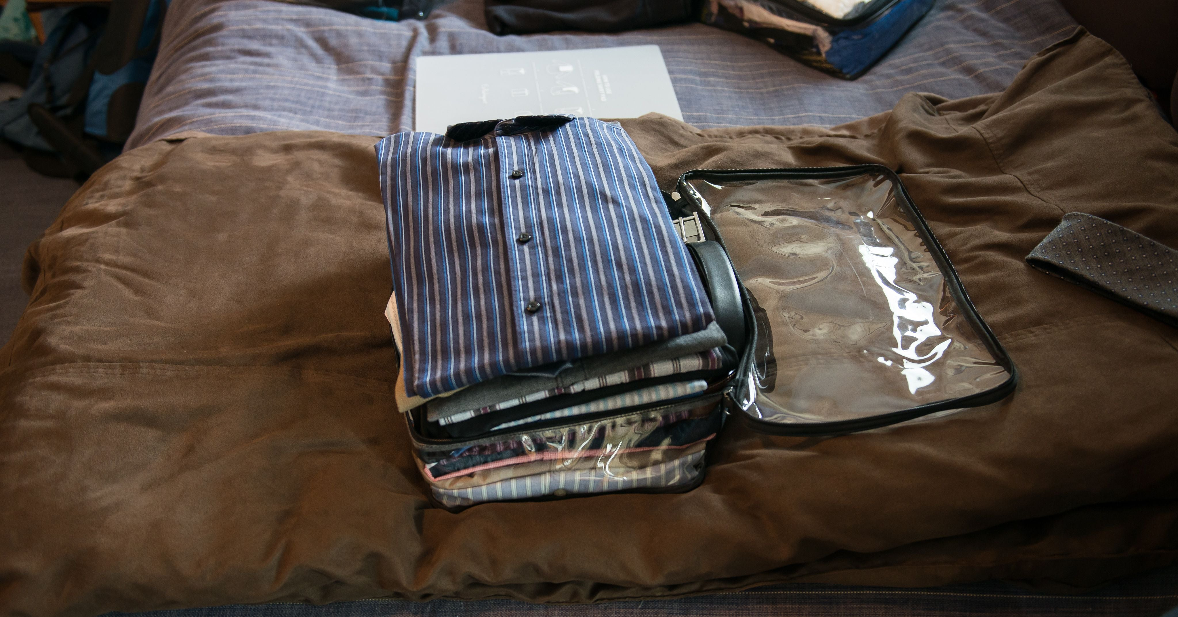 button down shirts and other dad clothes in a medium cube
