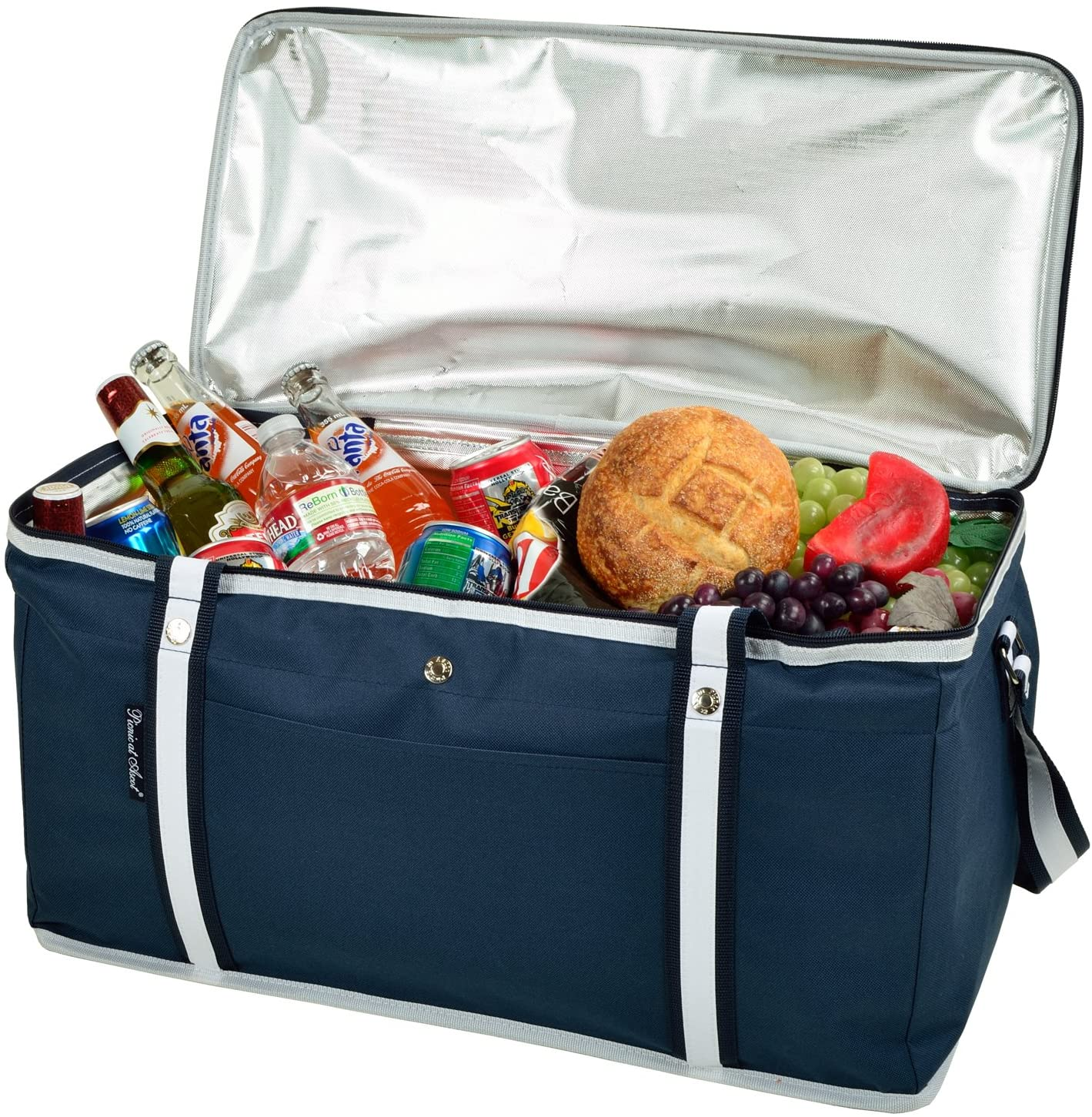 food and drinks inside a portable insulated beach cooler