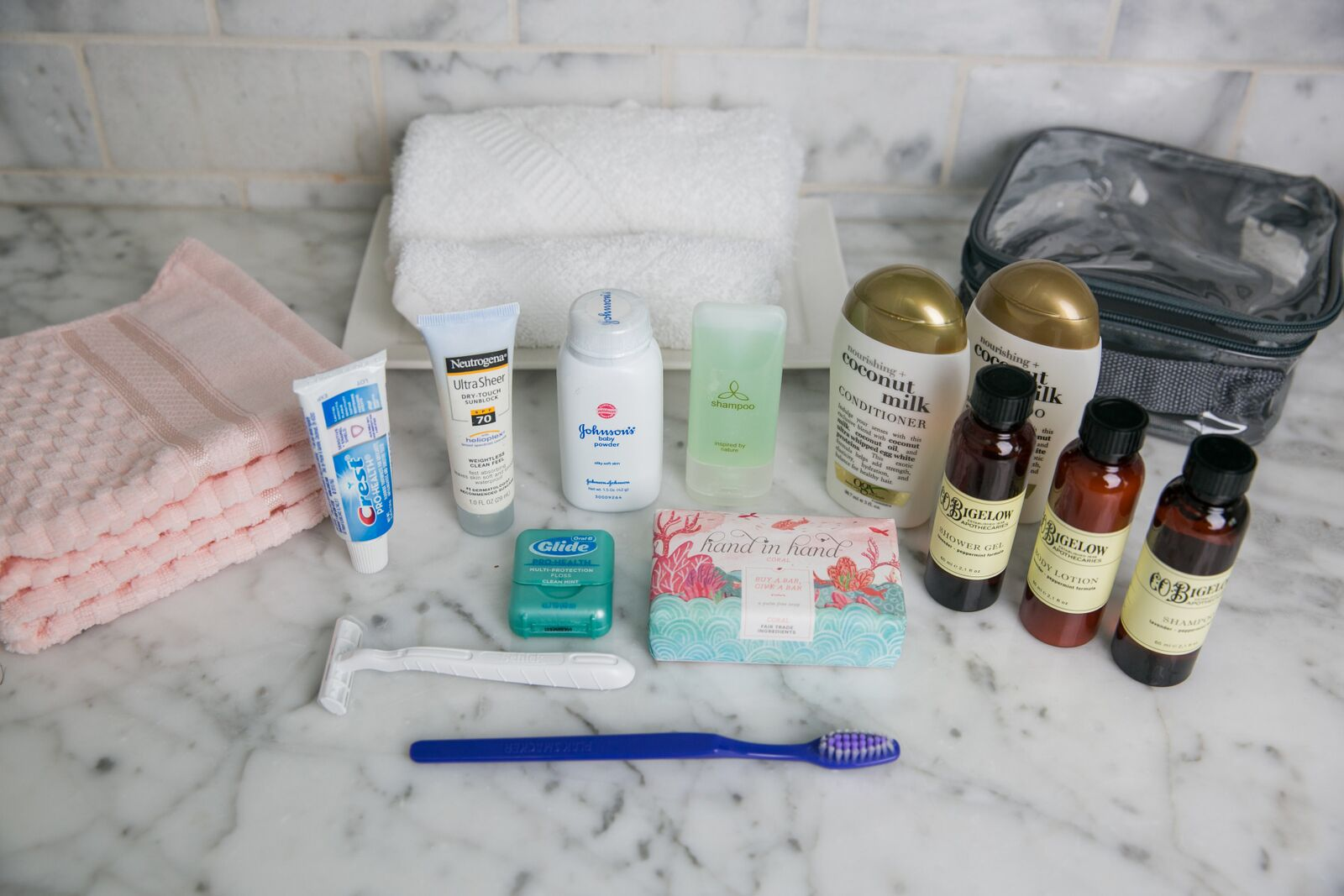 Toiletries with packing cube for one-month vacation