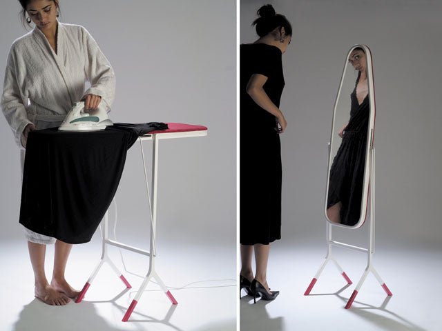 Multi-functional ironing board slash mirror to become extremely organized
