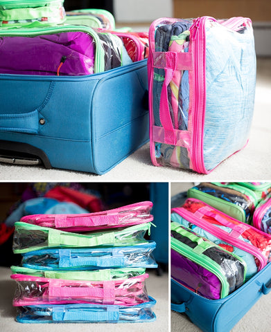 Differently colored EzPacking cubes for Disneyland trip
