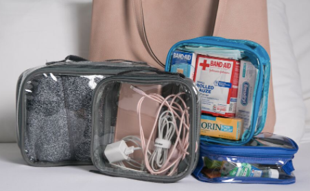 Packing cubes for chargers, first aid kit and clothes