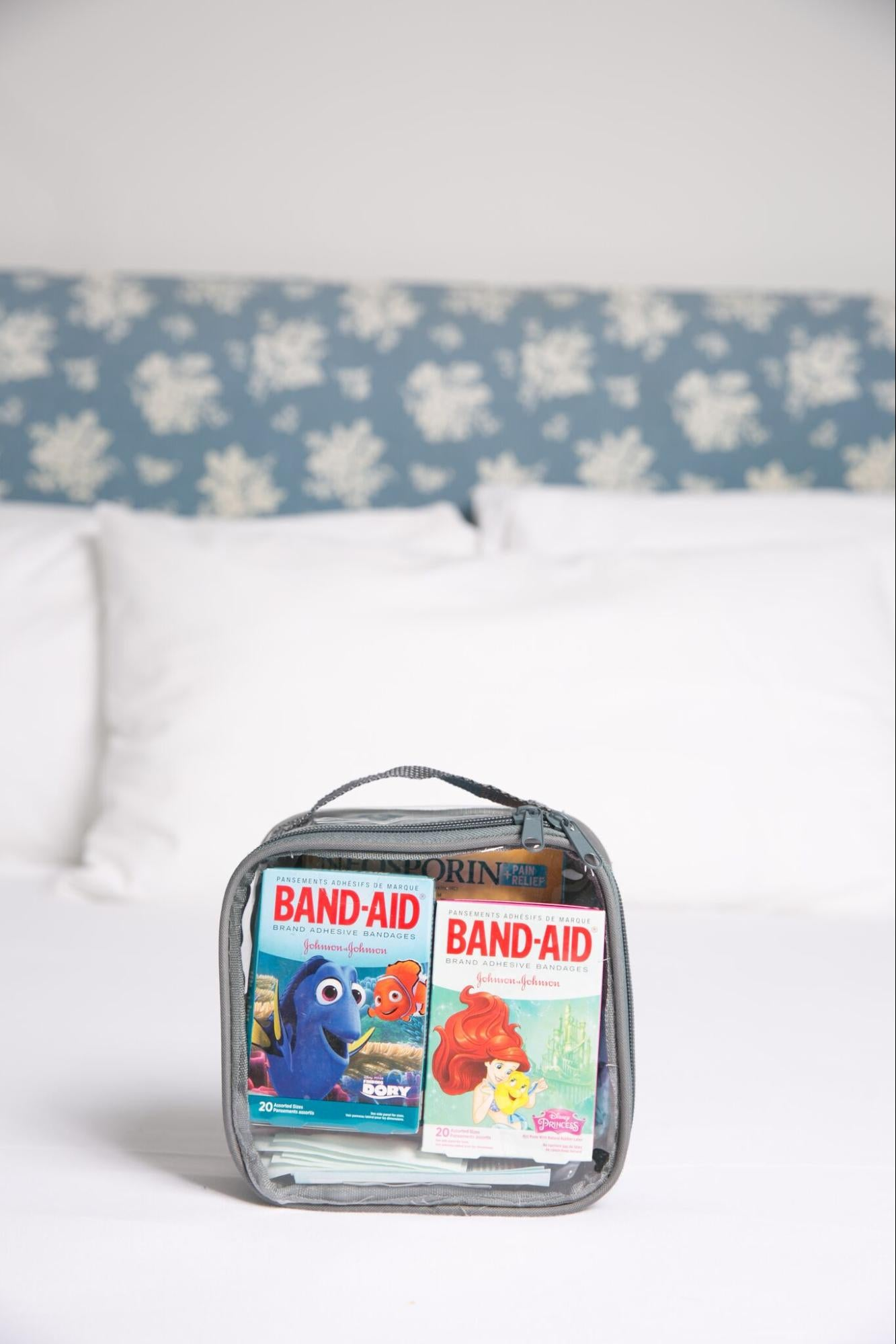 First aid kit for family road trip
