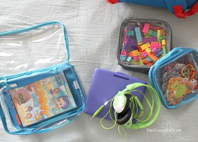 Kids toys for inflight entertainment in packing cubes