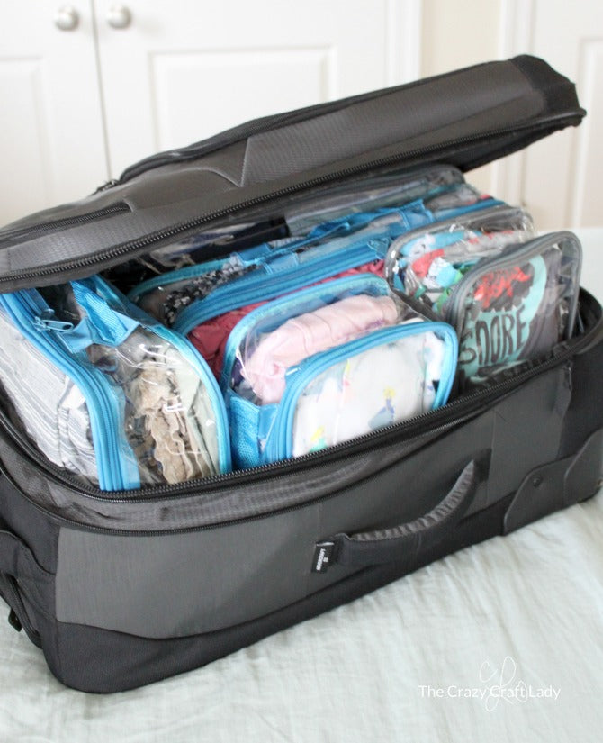organized suitcase with clear packing cubes