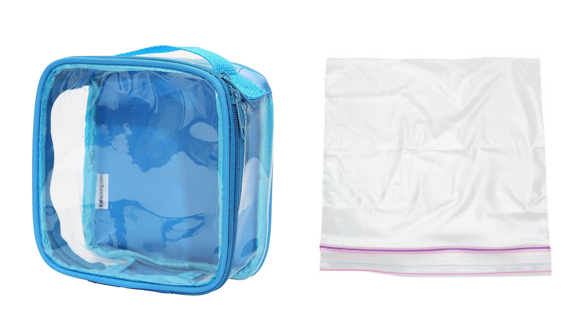 A turquoise Extra Small Cube and a Ziploc bag