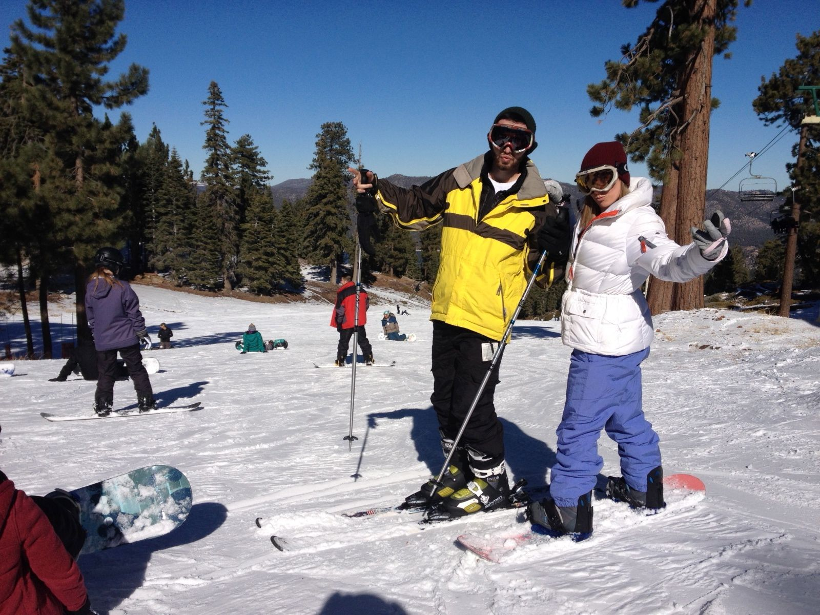 snowboarding and skiing in big bear