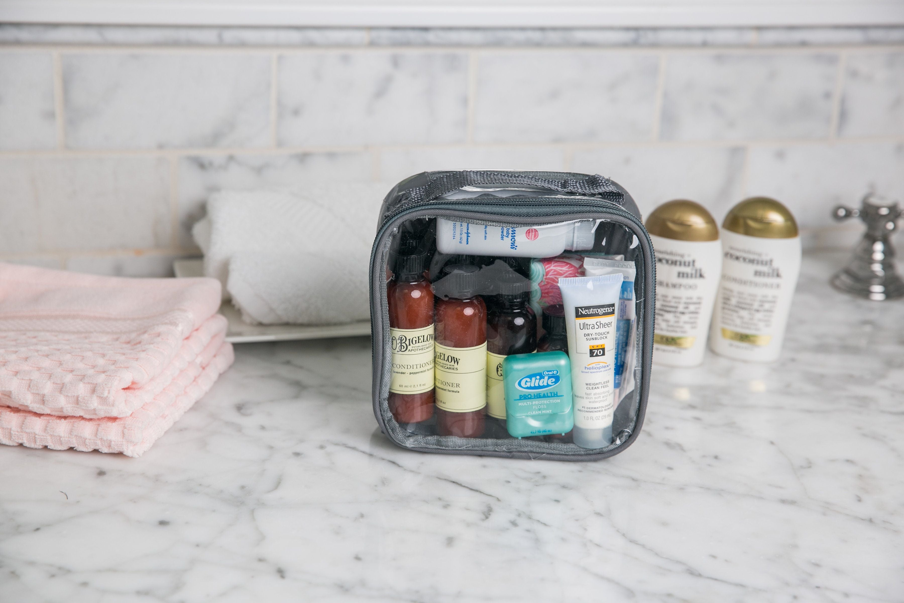 toiletries in a gray extra small cube