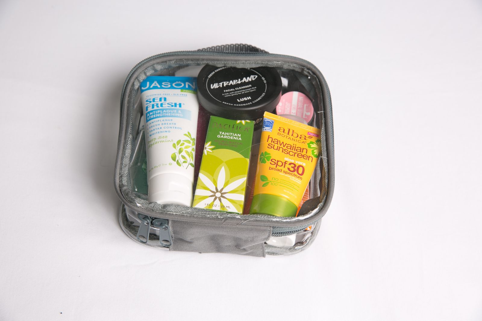 Hygiene essentials in a gray extra small cube