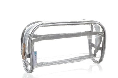 Clear makeup organizer bag in silver