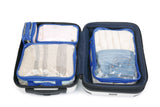 Royal blue luggage organizer set of four inside white carry-on luggage