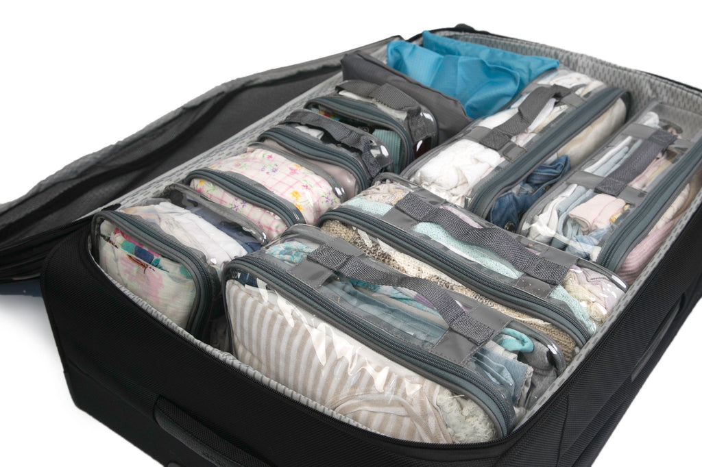 EzPacking Complete Bundle gray packing cube set inside luggage