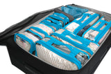EzPacking turquoise packing cube set inside suitcase