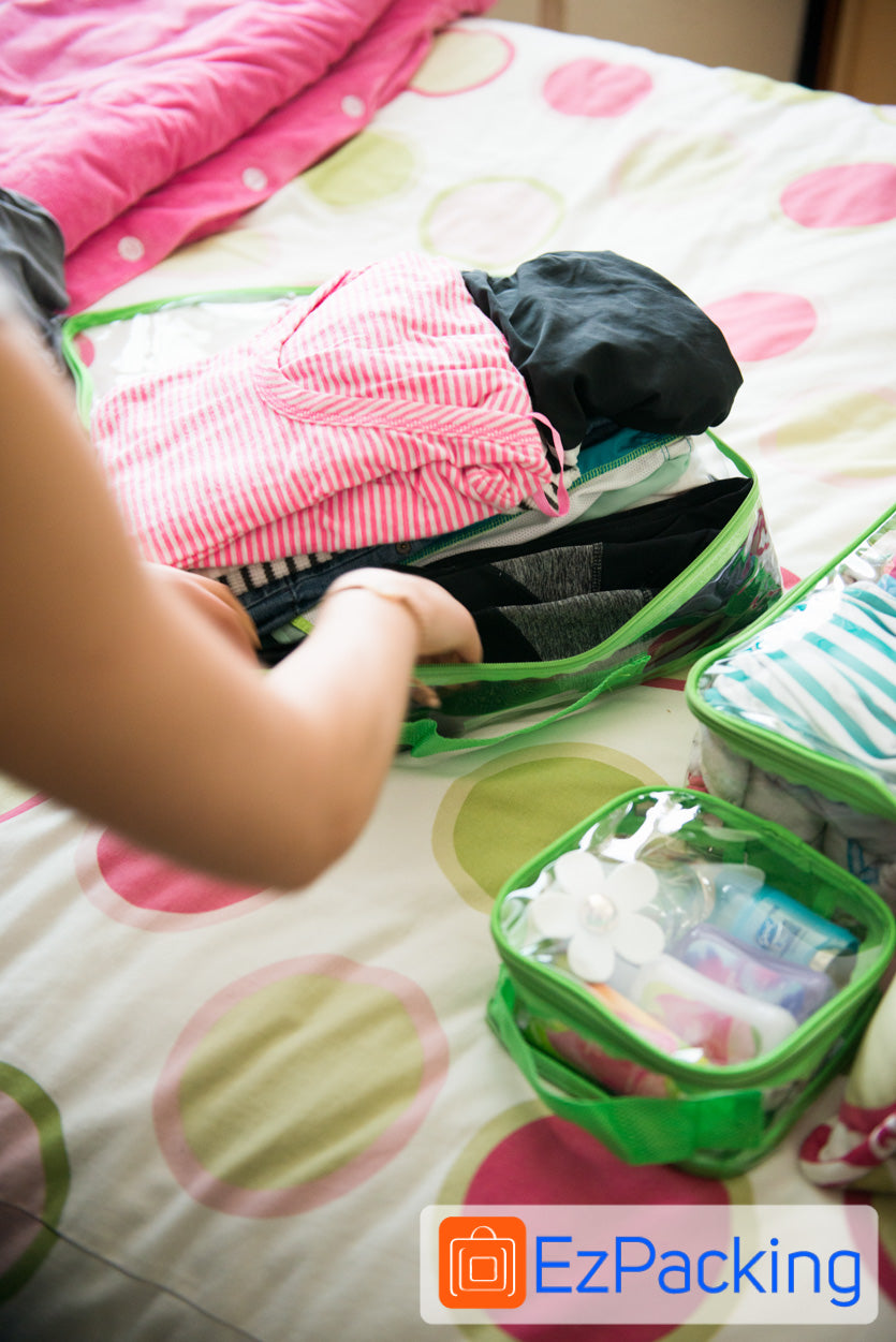 The Large Cube easily packs large items like pants and long sleeve shirts.