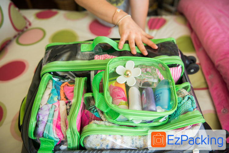 Our extra small packing cube packed with toiletries.