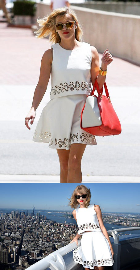 Reese Witherspoon and Taylor Swift in L+F Lucia Crop Top and Charlie Skirt