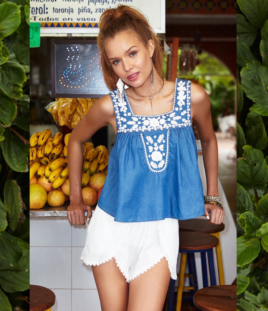 Dream Catcher Top in Blue Lagoon & Mariposa Shorts in Ivory