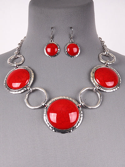 Red Silver Circle Necklace Set