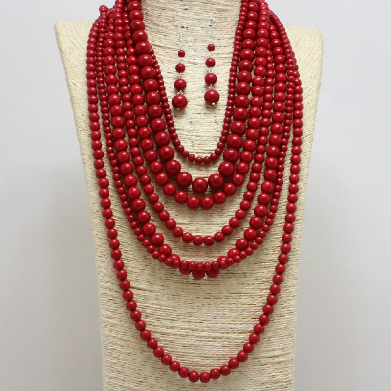 Red Pearl Multi Strand Necklace Set