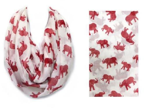 Red and White Infinity Elephant Scarf