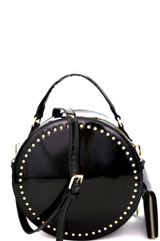 Black Studded Patent Round Satchel with matching Wallet