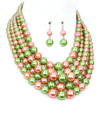 Pink and Green Multi Strand Pearl Necklace Set