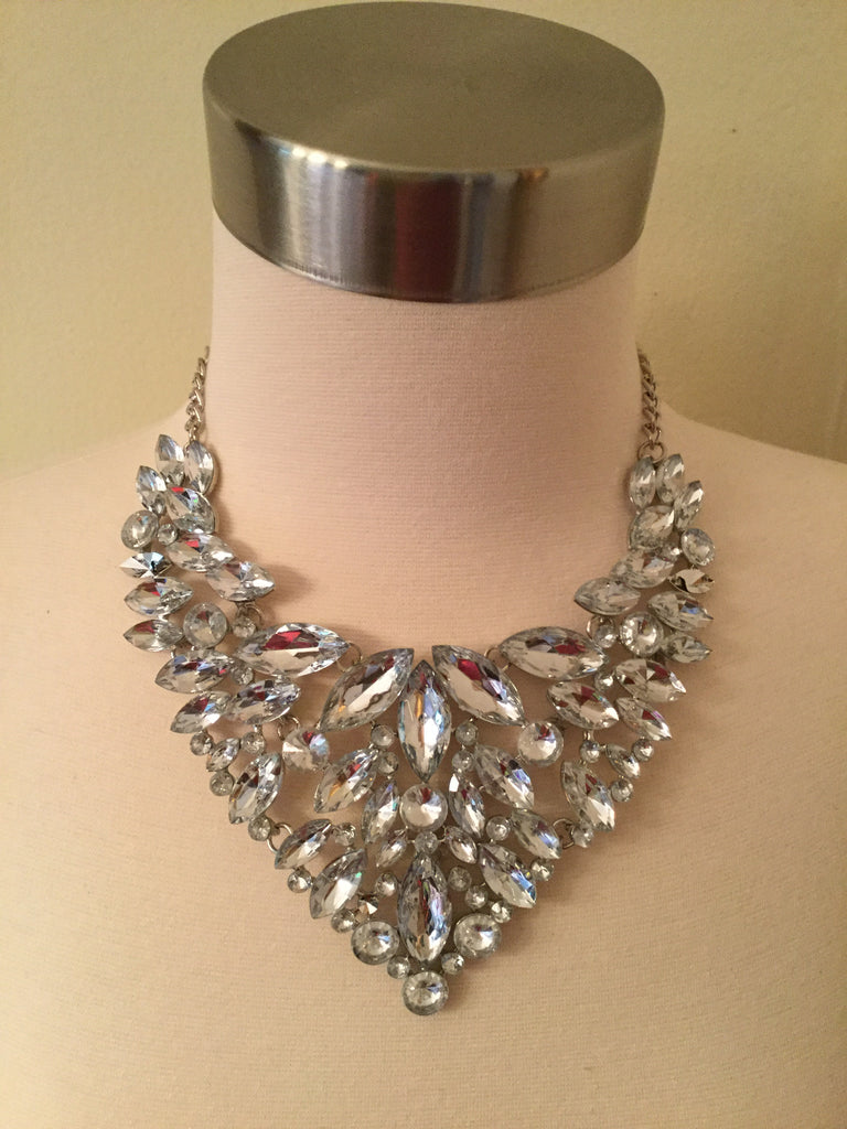 Crystal Statement Necklace Set with matching Earrings
