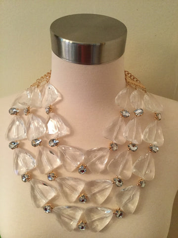 3 Layer Clear Triangled Beaded Necklace Set with matching earrings