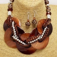 Chocolate Circle Pearl Necklace