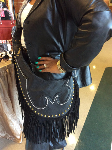 Black Fringe Handbag