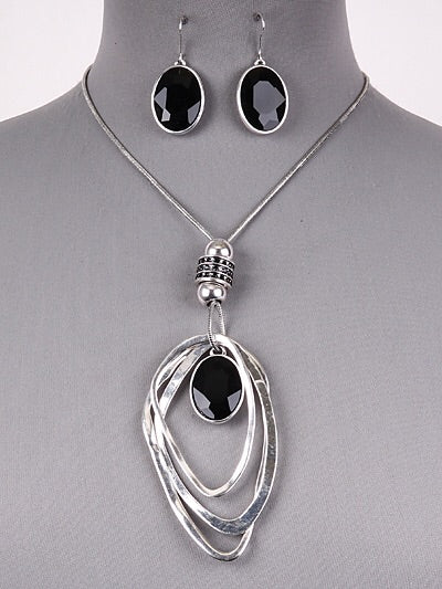 Tear drop Silver Necklace Set