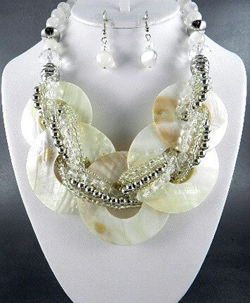 Ivory Pearl Circle Necklace Set