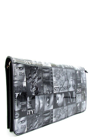 Patent Black and White Magazine Clutch Bag