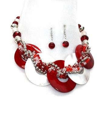 Red and White Circle Necklace Set.