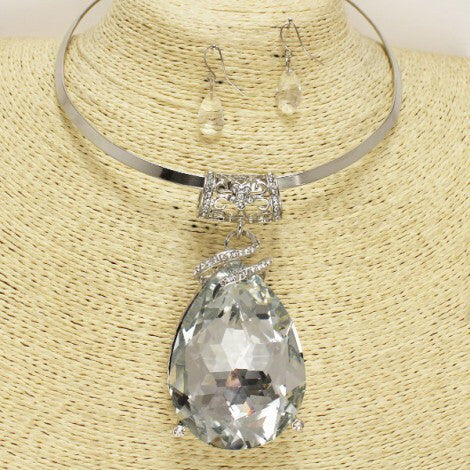 Sparkly Clear Choker Necklace Set