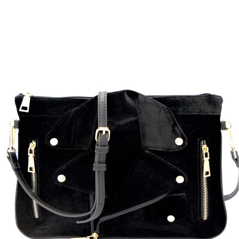 Black Velvet Moto Clutch Shoulder Bag