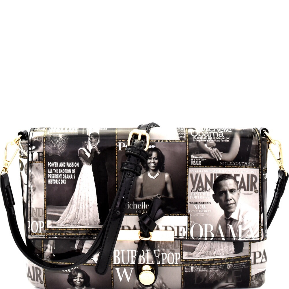 Super Cute Magazine Michelle Obama Messenger Bag Black and White