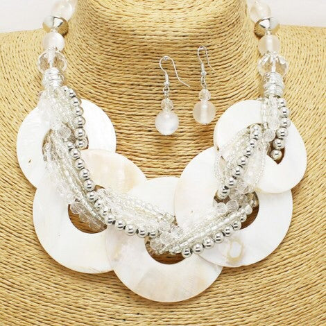 White Round Necklace Set