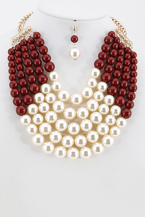 Red and White Pearl Necklace set