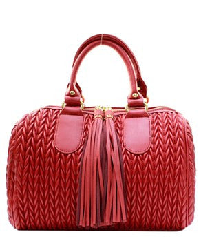Trendy Red Quilted Satchel.